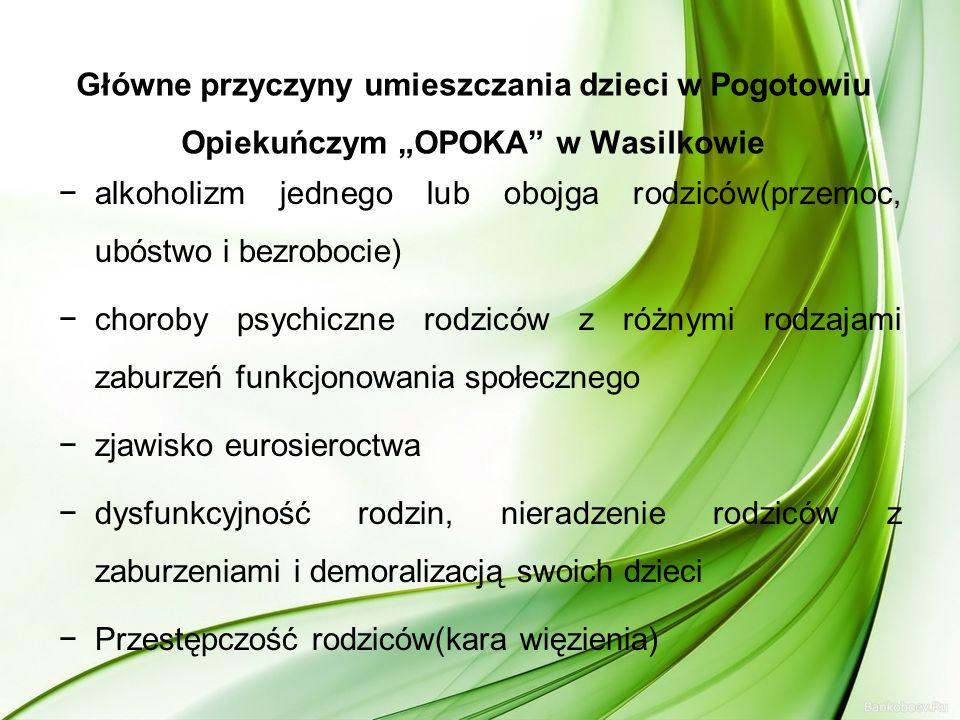 """Główne przyczyny umieszczania dzieci w Pogotowiu Opiekuńczym """"OPOKA w Wasilkowie"""