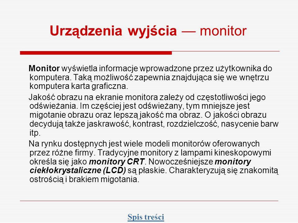 Urządzenia wyjścia — monitor