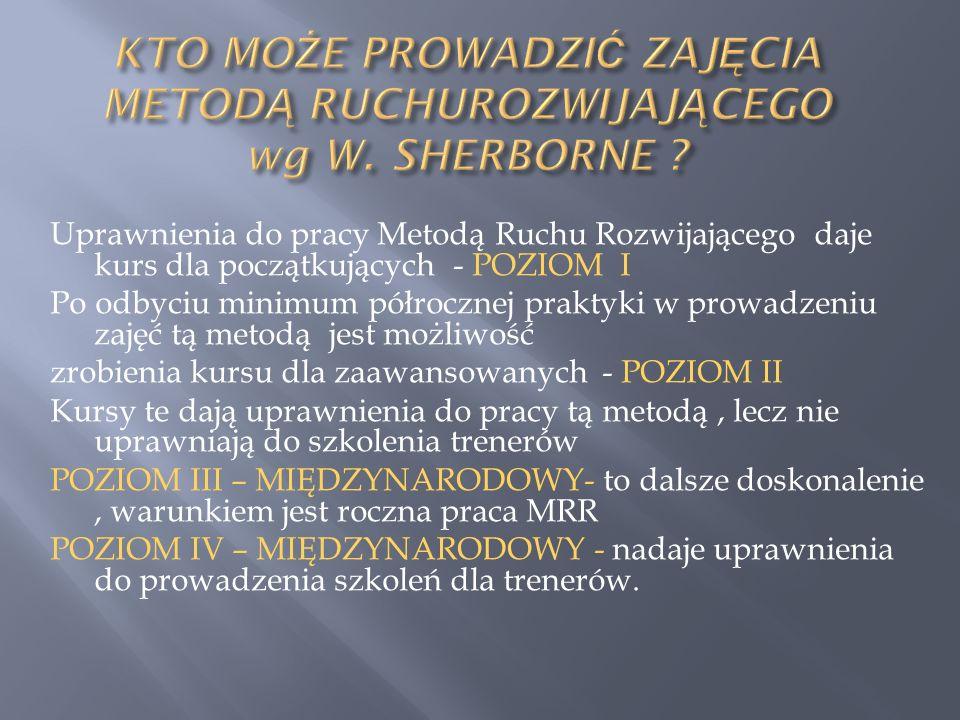 KTO MOŻE PROWADZIĆ ZAJĘCIA METODĄ RUCHUROZWIJAJĄCEGO wg W. SHERBORNE
