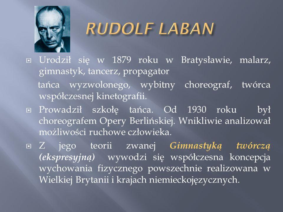 RUDOLF LABAN Urodził się w 1879 roku w Bratysławie, malarz, gimnastyk, tancerz, propagator.