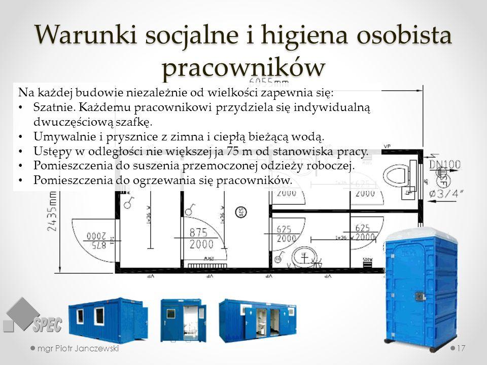 Warunki socjalne i higiena osobista pracowników