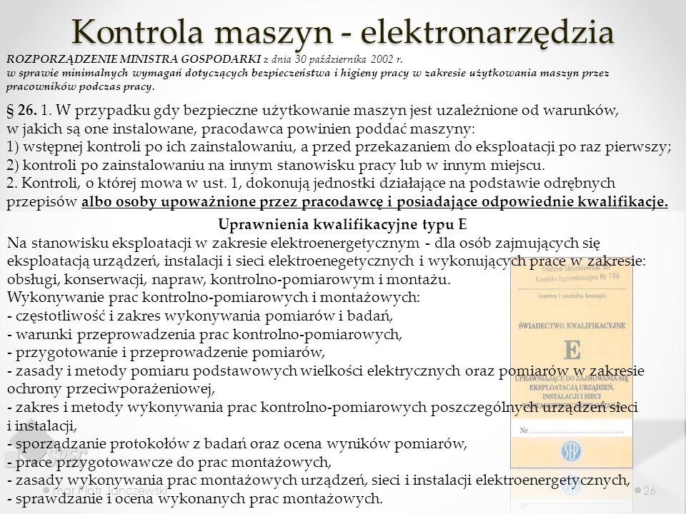 Kontrola maszyn - elektronarzędzia