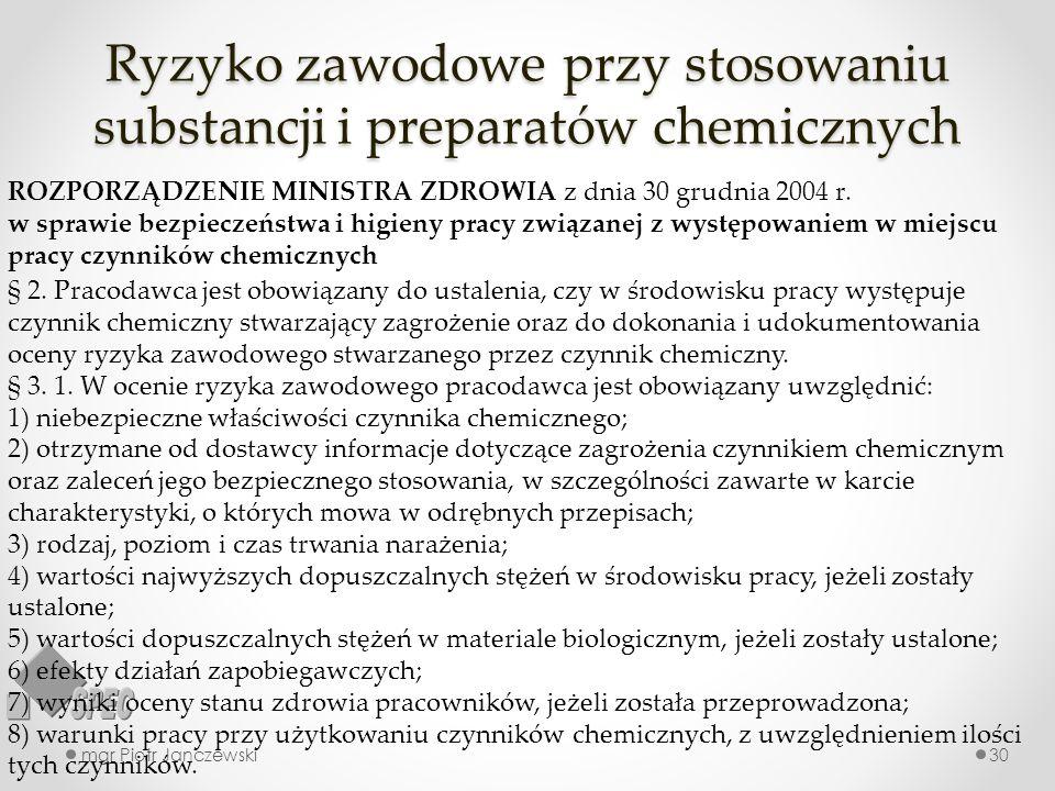 Ryzyko zawodowe przy stosowaniu substancji i preparatów chemicznych