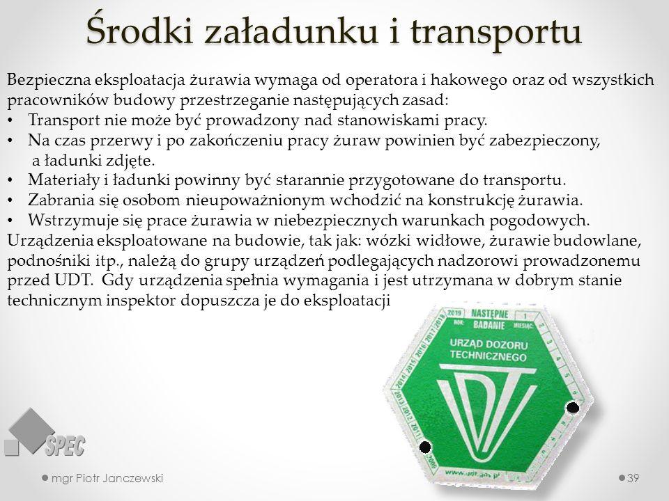 Środki załadunku i transportu