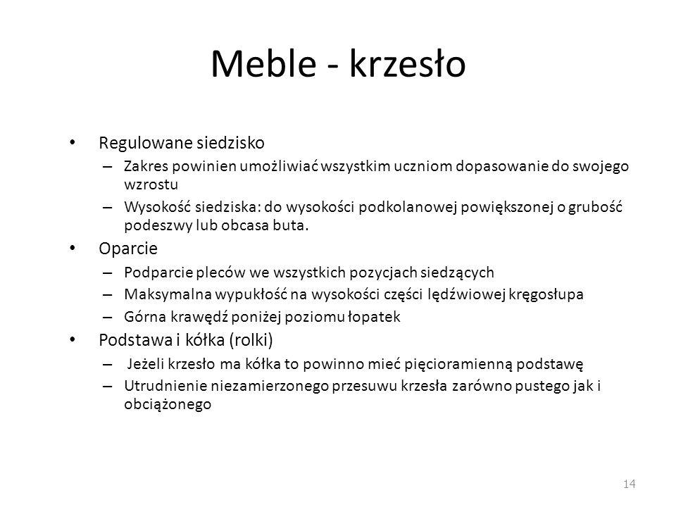 Meble - krzesło Regulowane siedzisko Oparcie Podstawa i kółka (rolki)