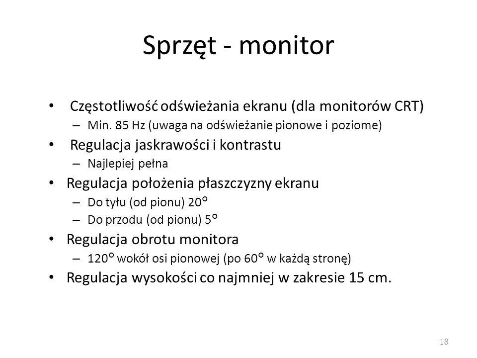 Sprzęt - monitor Częstotliwość odświeżania ekranu (dla monitorów CRT)