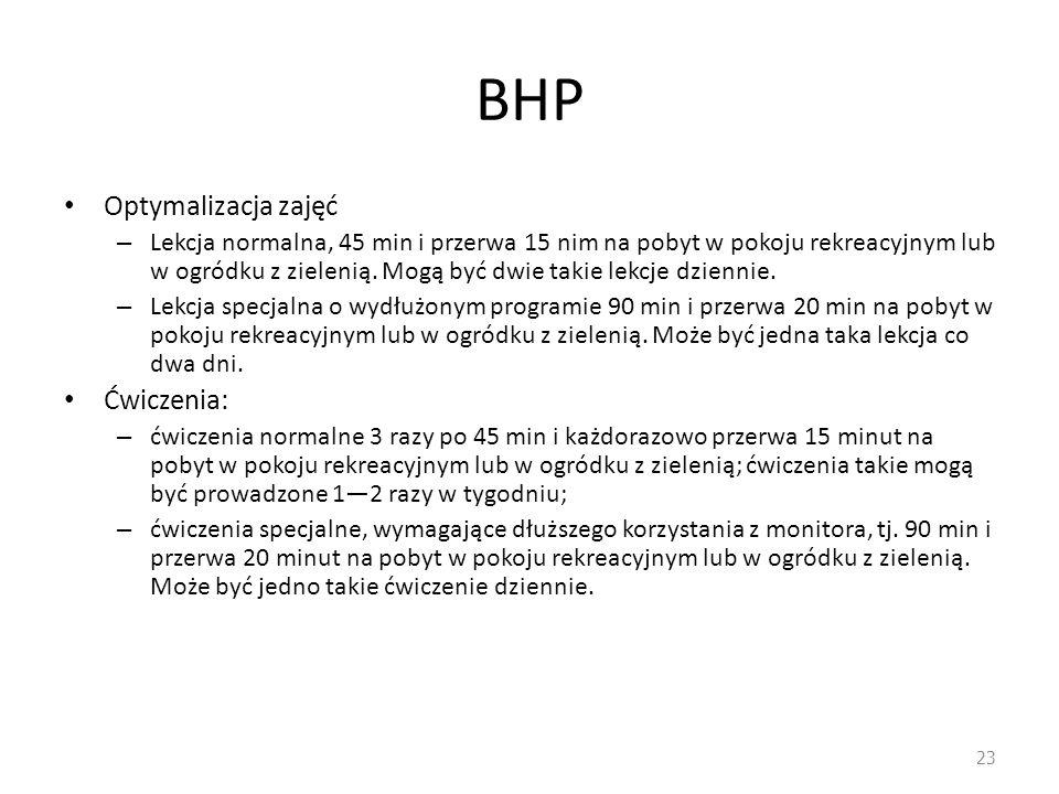BHP Optymalizacja zajęć Ćwiczenia: