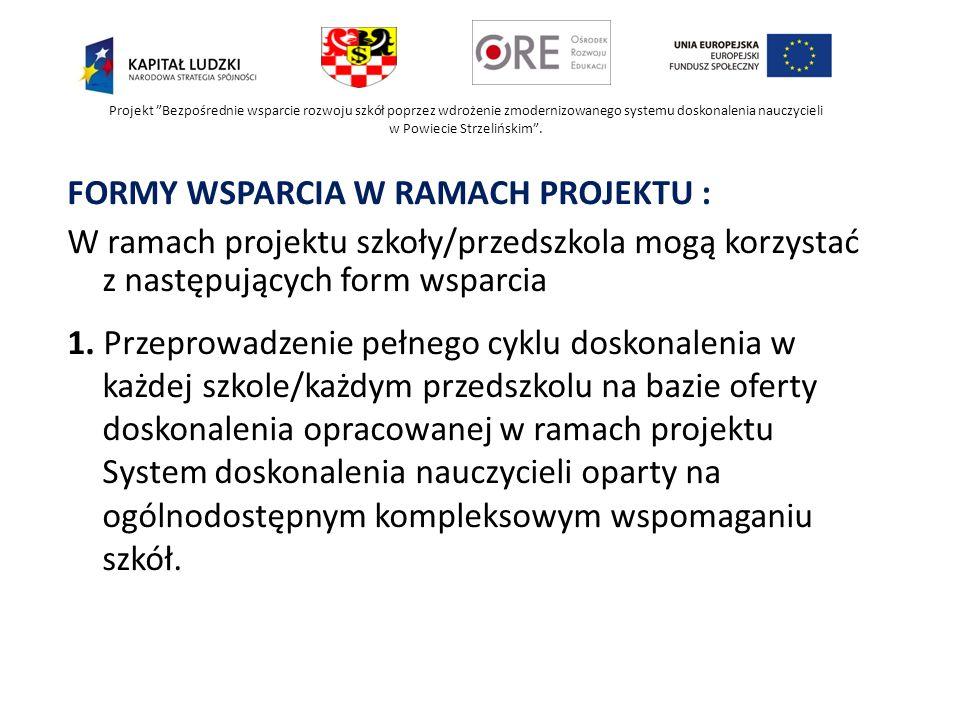 FORMY WSPARCIA W RAMACH PROJEKTU :