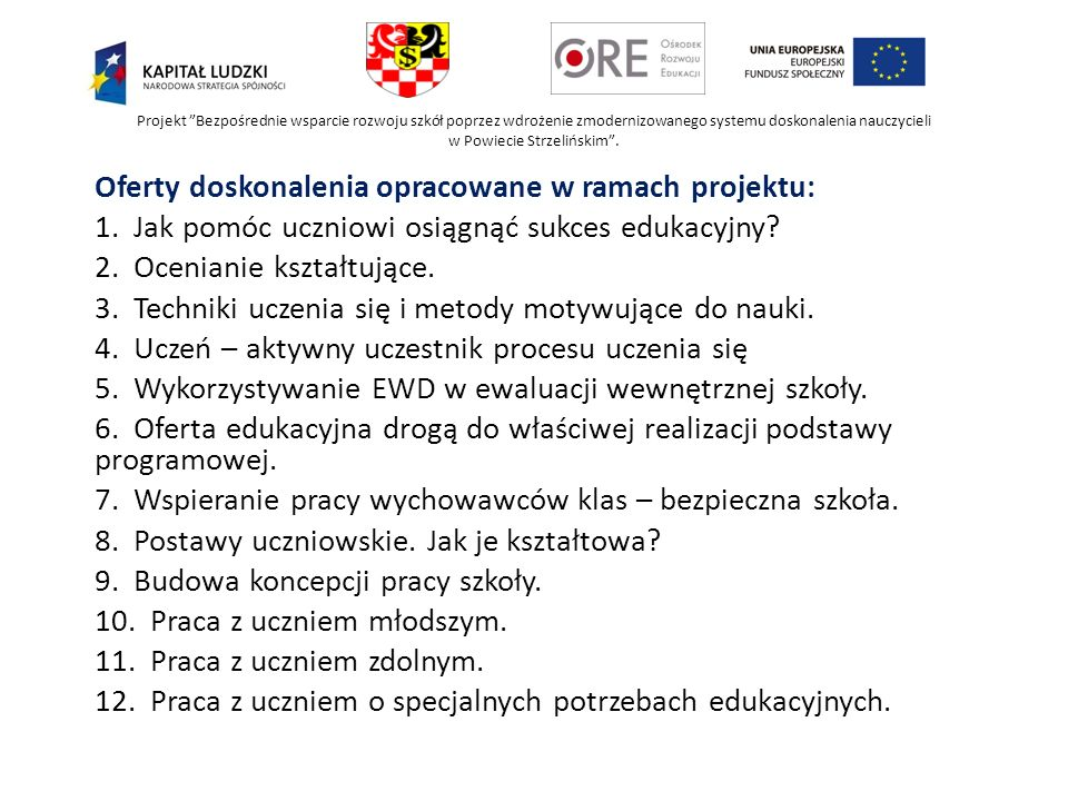 Oferty doskonalenia opracowane w ramach projektu: