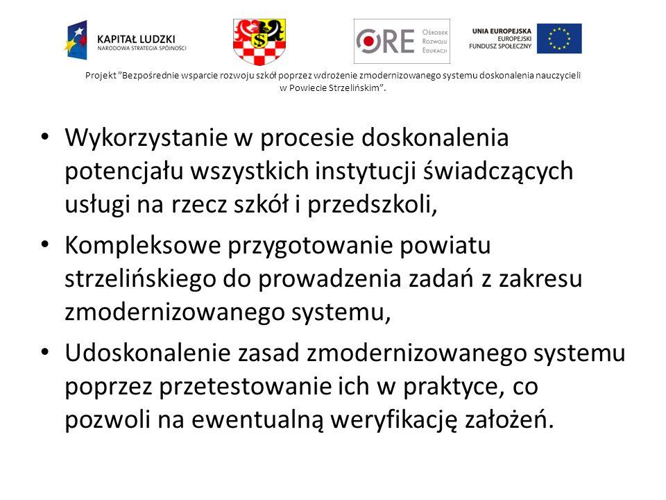 Projekt Bezpośrednie wsparcie rozwoju szkół poprzez wdrożenie zmodernizowanego systemu doskonalenia nauczycieli w Powiecie Strzelińskim .