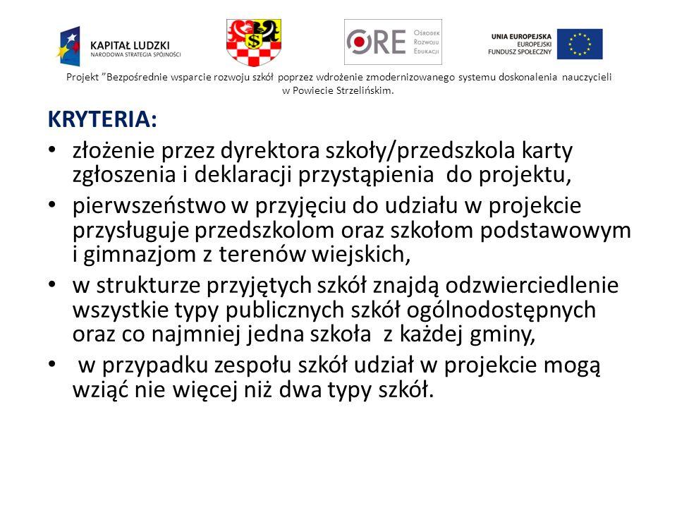 Projekt Bezpośrednie wsparcie rozwoju szkół poprzez wdrożenie zmodernizowanego systemu doskonalenia nauczycieli w Powiecie Strzelińskim.