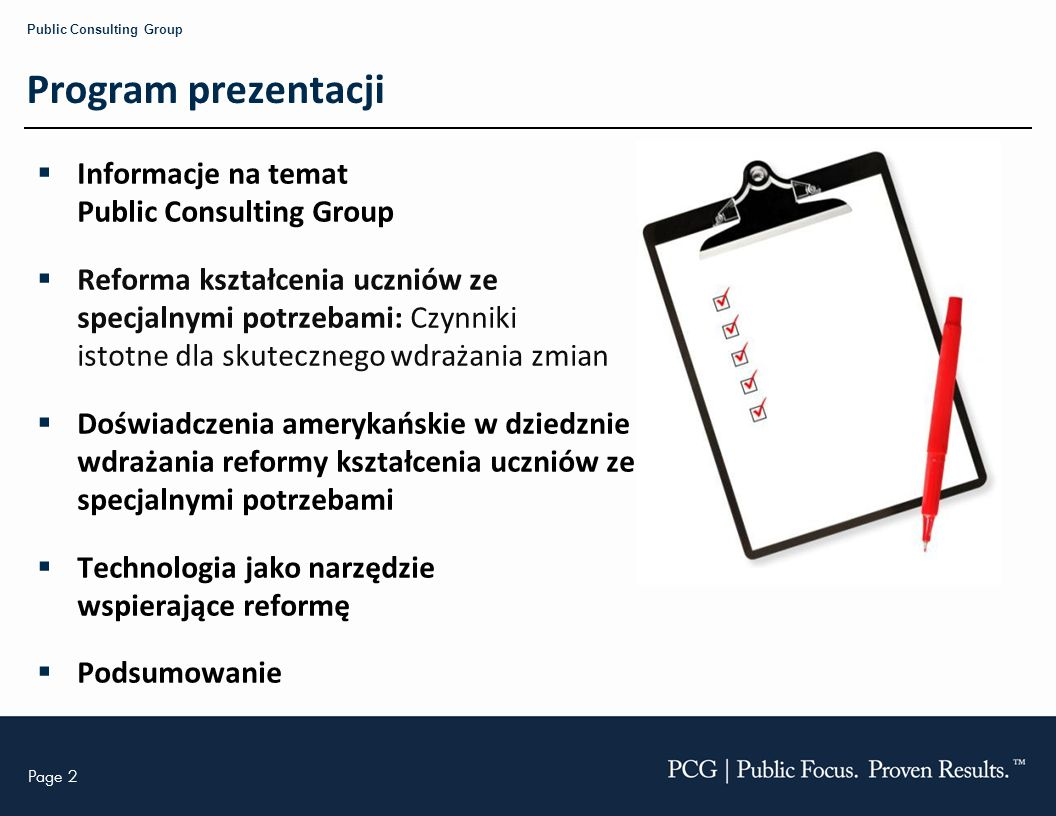 Program prezentacji Informacje na temat Public Consulting Group