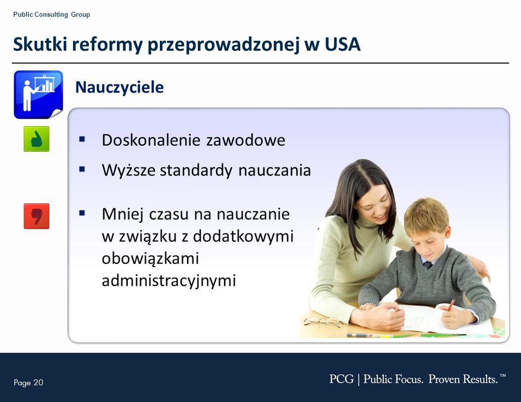 Skutki reformy przeprowadzonej w USA