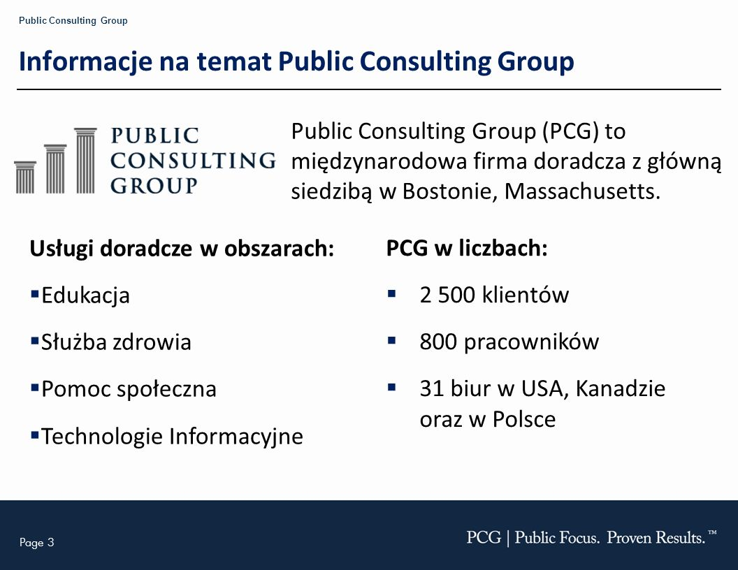 Informacje na temat Public Consulting Group