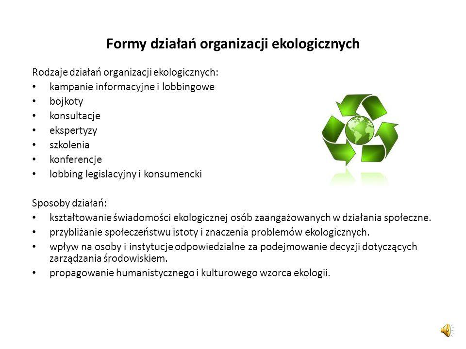 Formy działań organizacji ekologicznych