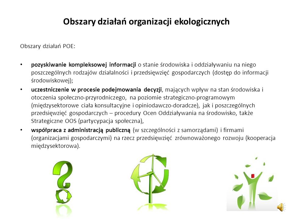 Obszary działań organizacji ekologicznych