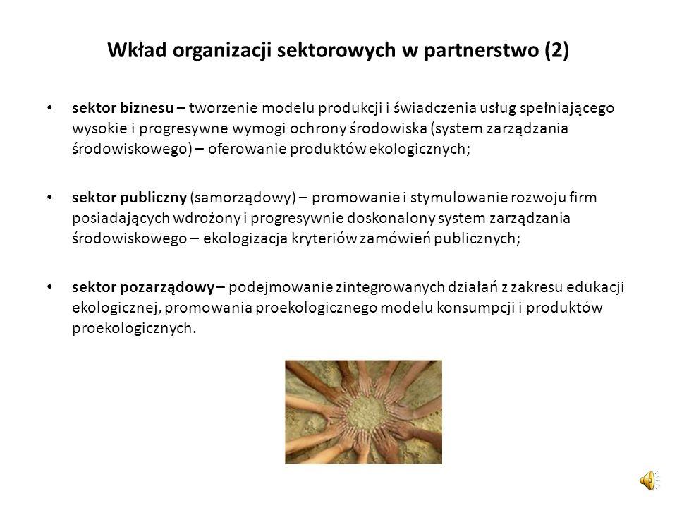 Wkład organizacji sektorowych w partnerstwo (2)