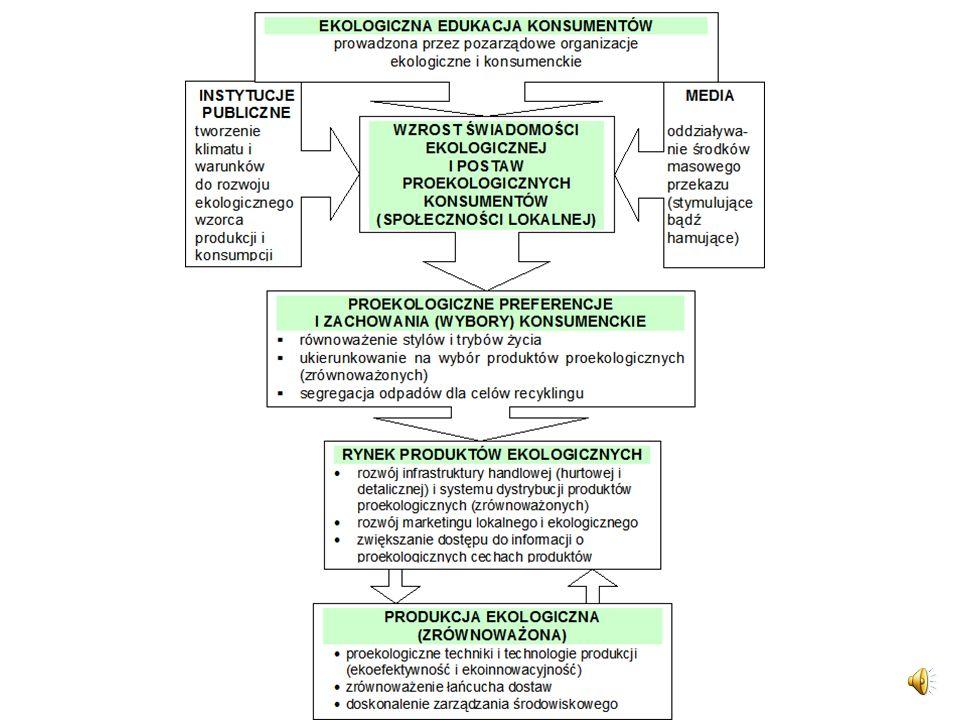 Miejsce i rolę edukacji ekologicznej w działaniach na rzecz równoważenia wzorców konsumpcji i produkcji pokazuje rysunek na slajdzie.
