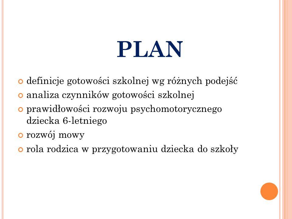 PLAN definicje gotowości szkolnej wg różnych podejść