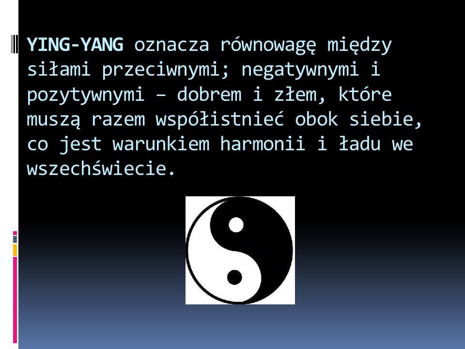YING-YANG oznacza równowagę między siłami przeciwnymi; negatywnymi i pozytywnymi – dobrem i złem, które muszą razem współistnieć obok siebie, co jest warunkiem harmonii i ładu we wszechświecie.