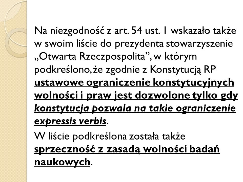 Na niezgodność z art. 54 ust