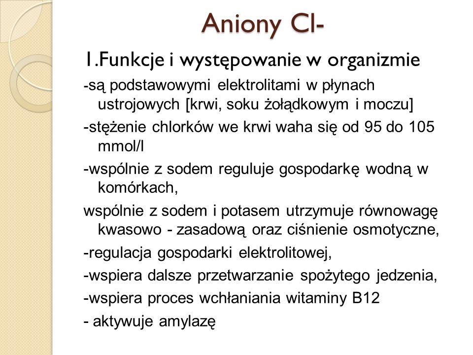 Aniony Cl- 1.Funkcje i występowanie w organizmie