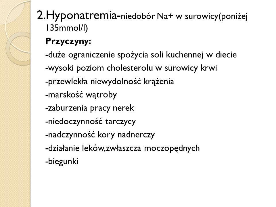 2.Hyponatremia-niedobór Na+ w surowicy(poniżej 135mmol/l)