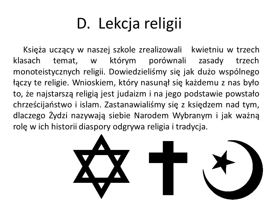 D. Lekcja religii
