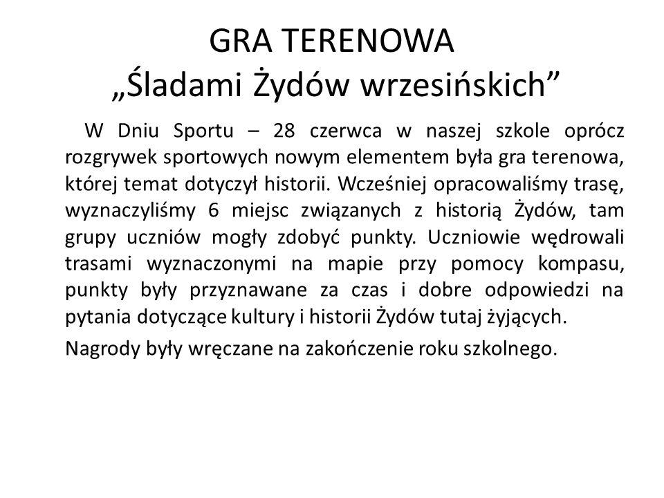 """GRA TERENOWA """"Śladami Żydów wrzesińskich"""