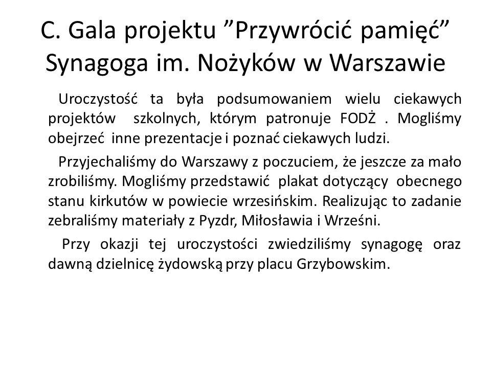 C. Gala projektu Przywrócić pamięć Synagoga im. Nożyków w Warszawie