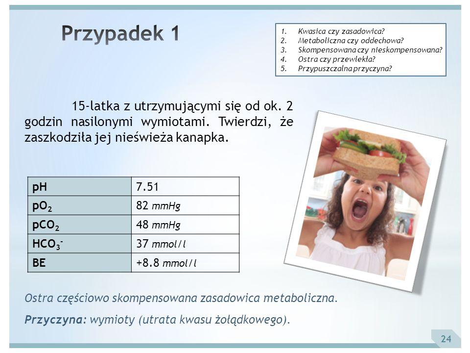 Przypadek 1 Kwasica czy zasadowica Metaboliczna czy oddechowa Skompensowana czy nieskompensowana
