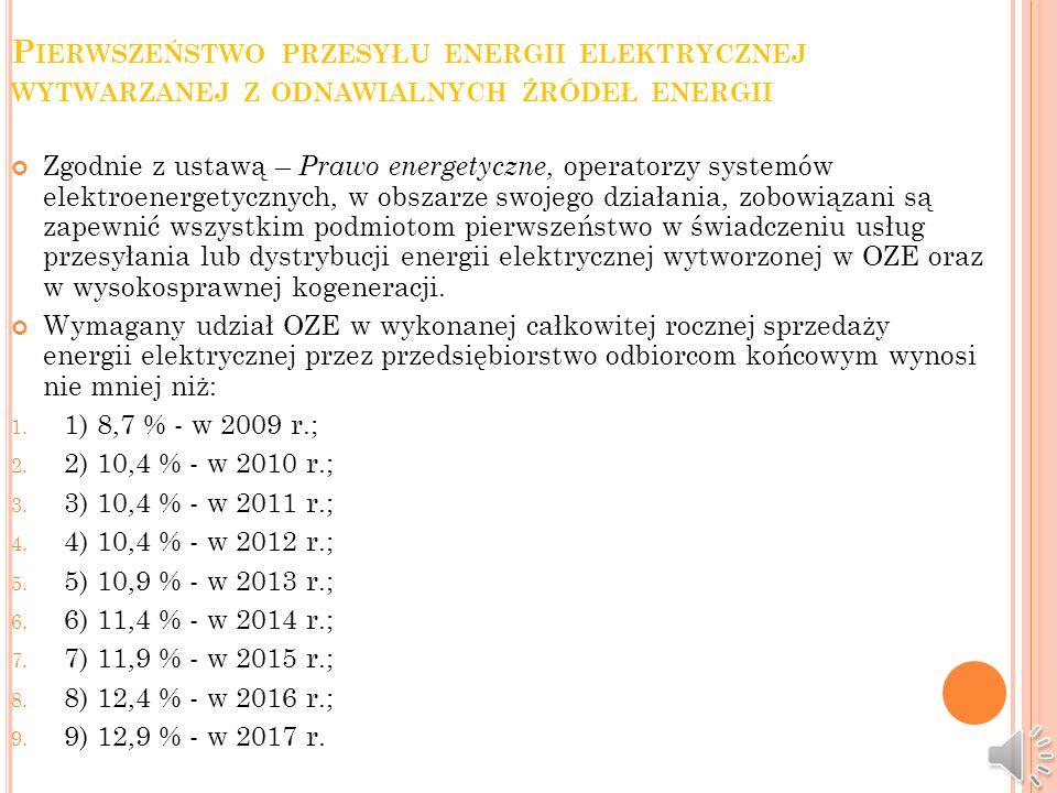 Pierwszeństwo przesyłu energii elektrycznej wytwarzanej z odnawialnych źródeł energii