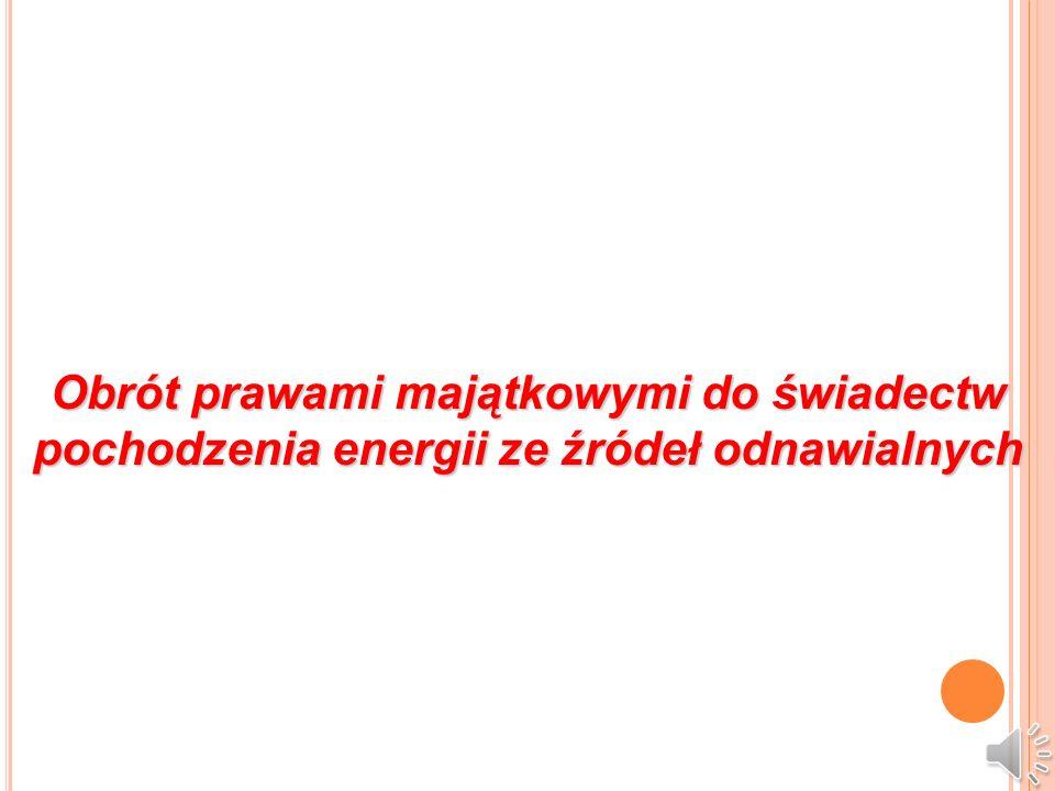 Obrót prawami majątkowymi do świadectw pochodzenia energii ze źródeł odnawialnych