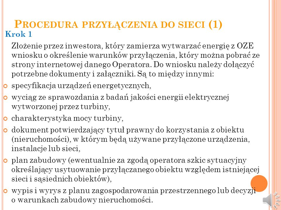 Procedura przyłączenia do sieci (1)