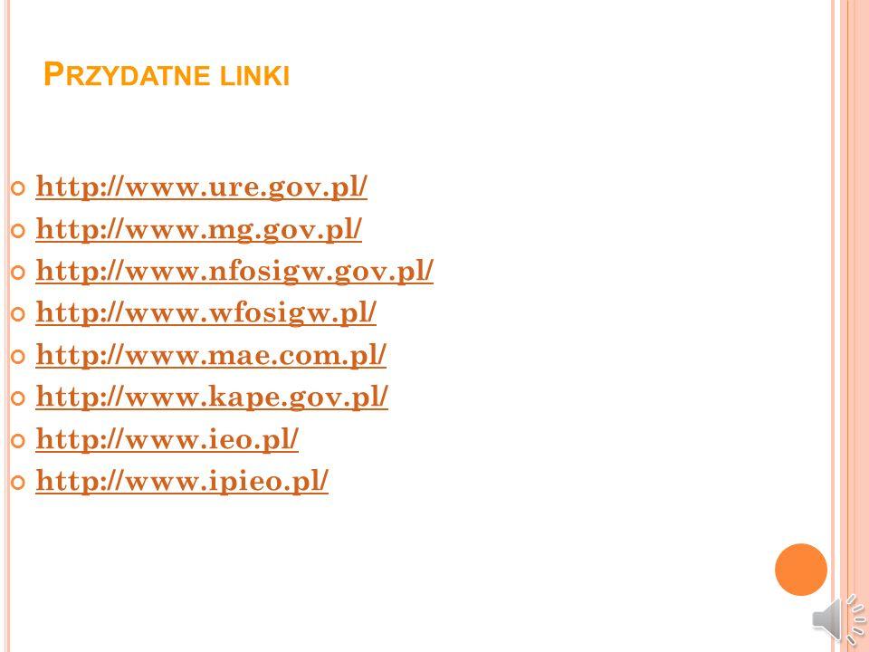 Przydatne linki http://www.ure.gov.pl/ http://www.mg.gov.pl/