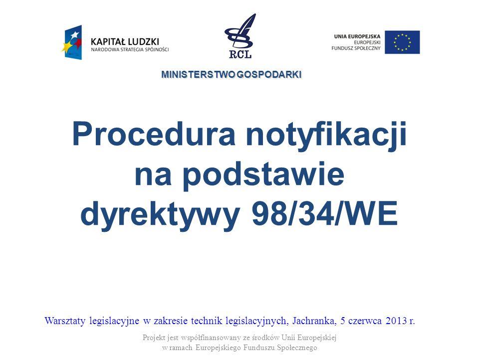 Procedura notyfikacji na podstawie dyrektywy 98/34/WE
