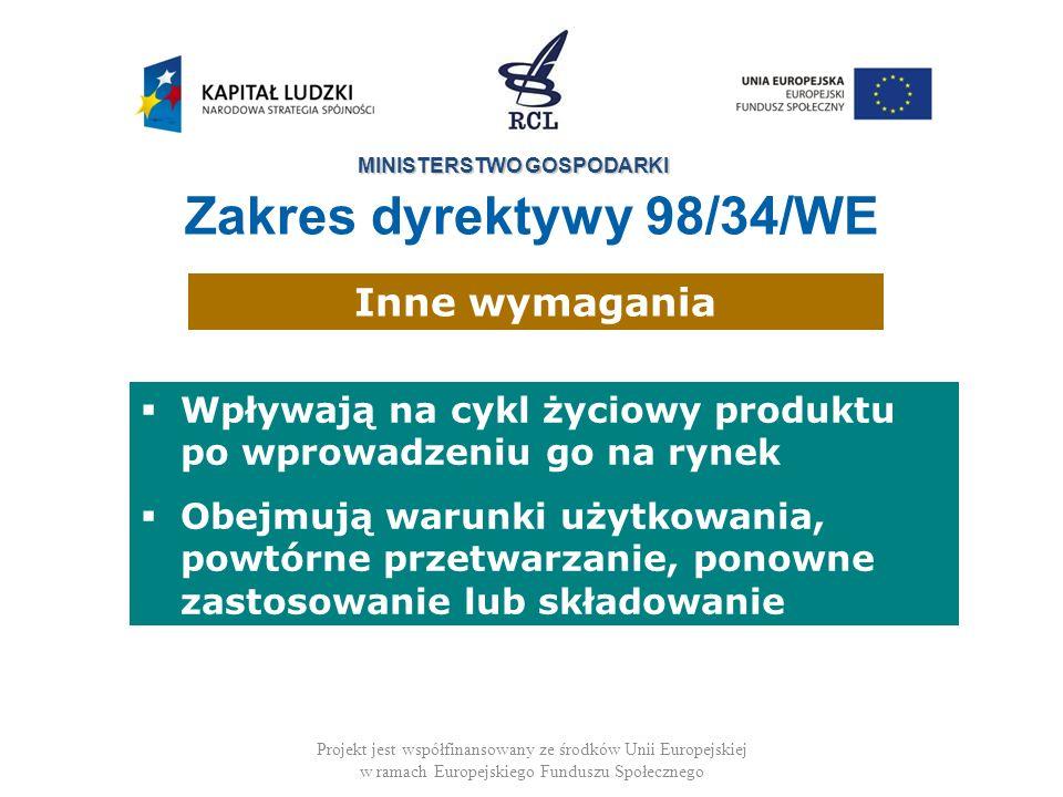 Zakres dyrektywy 98/34/WE Inne wymagania
