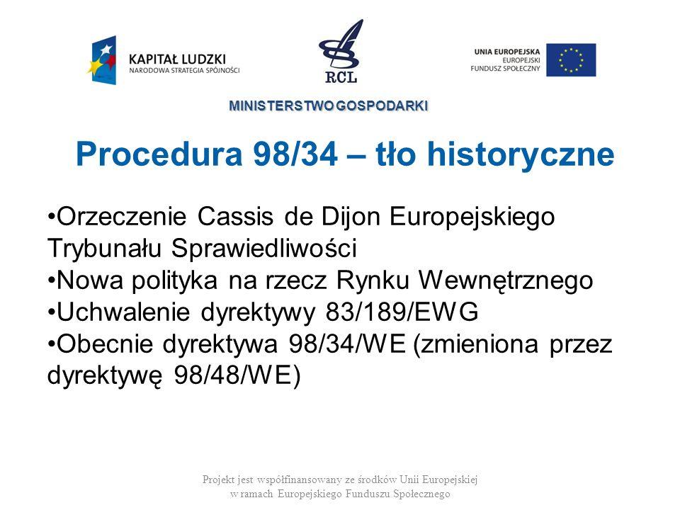 Procedura 98/34 – tło historyczne
