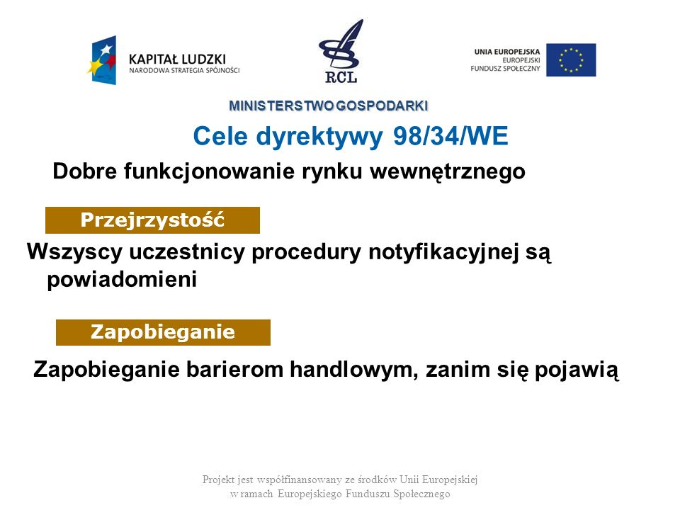 Cele dyrektywy 98/34/WE Dobre funkcjonowanie rynku wewnętrznego