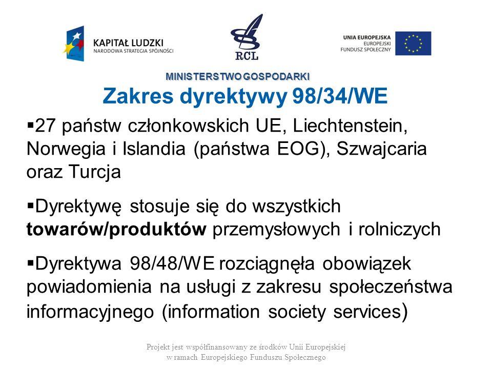 Zakres dyrektywy 98/34/WE 27 państw członkowskich UE, Liechtenstein, Norwegia i Islandia (państwa EOG), Szwajcaria oraz Turcja.