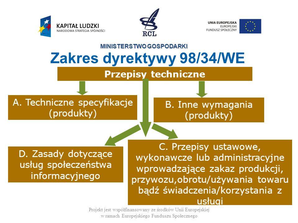 Zakres dyrektywy 98/34/WE Przepisy techniczne