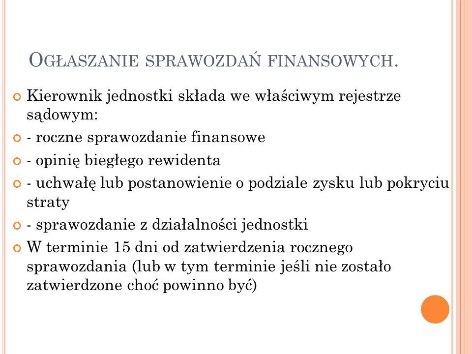 Ogłaszanie sprawozdań finansowych.