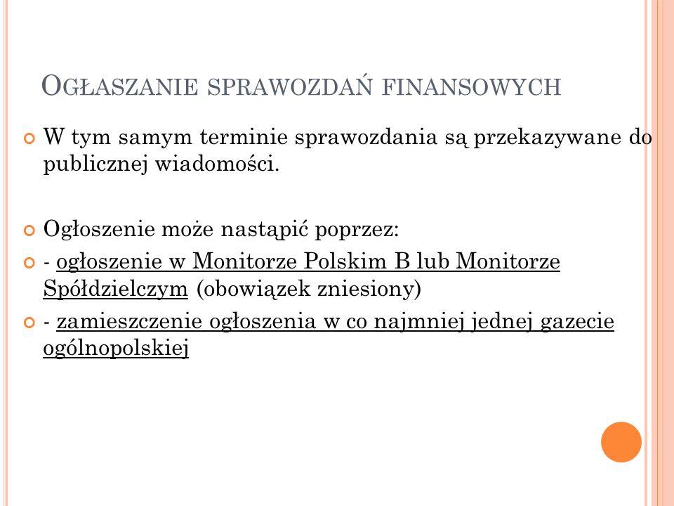 Ogłaszanie sprawozdań finansowych