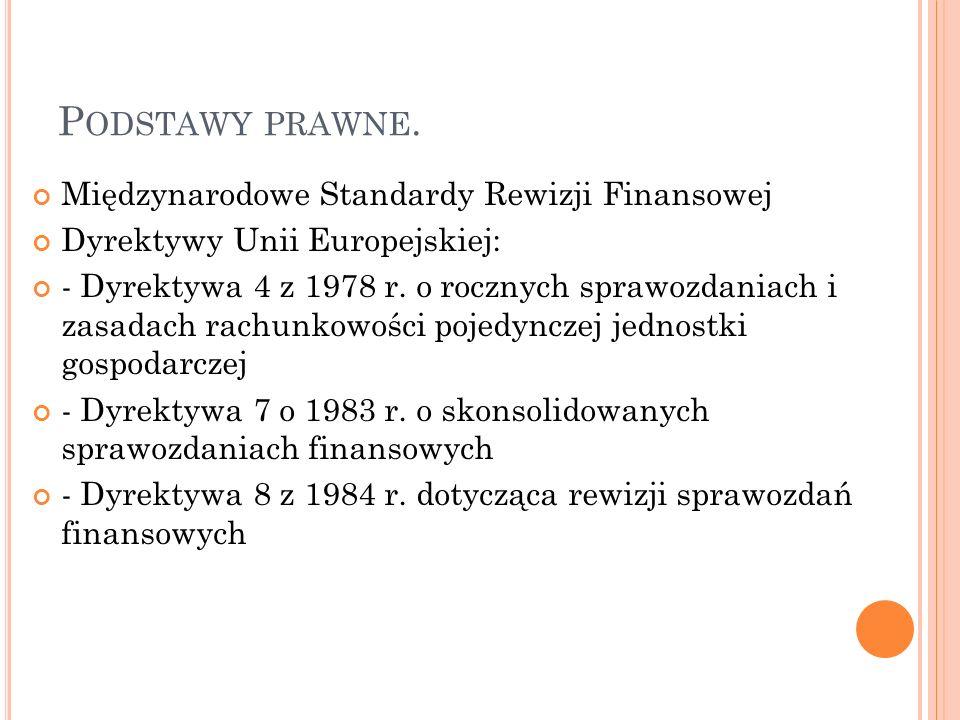 Podstawy prawne. Międzynarodowe Standardy Rewizji Finansowej