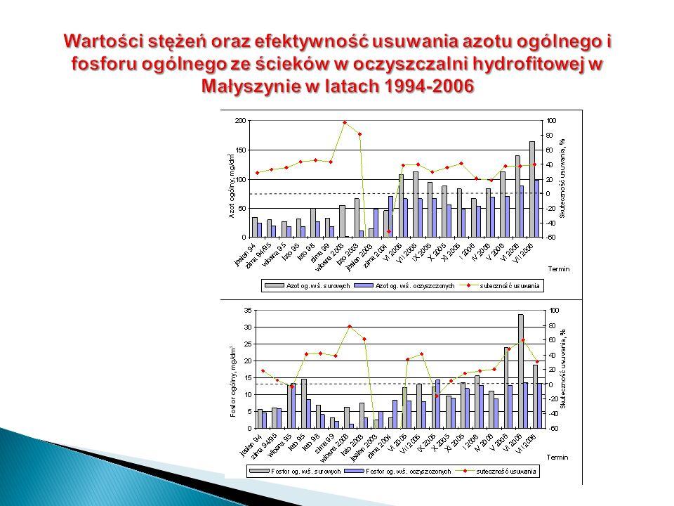 Wartości stężeń oraz efektywność usuwania azotu ogólnego i fosforu ogólnego ze ścieków w oczyszczalni hydrofitowej w Małyszynie w latach 1994-2006