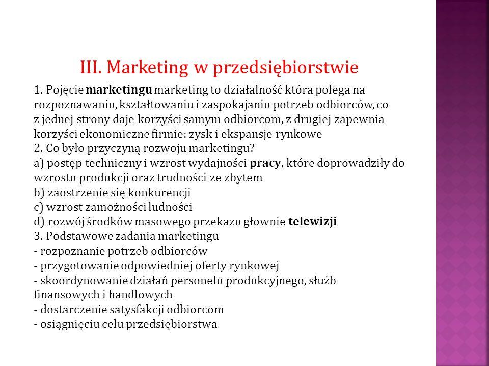 III. Marketing w przedsiębiorstwie