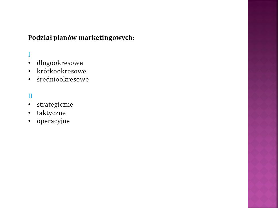 Podział planów marketingowych: