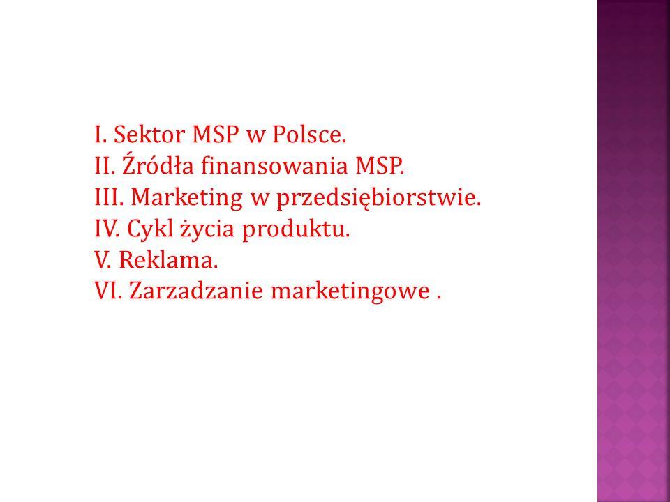 I. Sektor MSP w Polsce. II. Źródła finansowania MSP. III. Marketing w przedsiębiorstwie. IV. Cykl życia produktu.