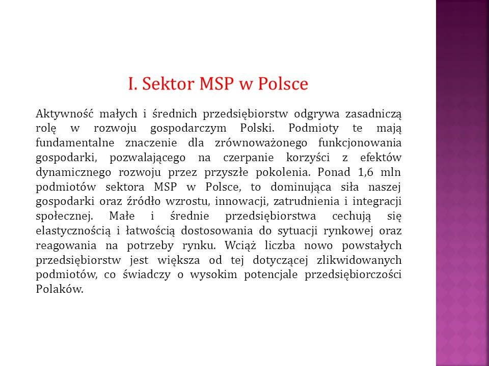 I. Sektor MSP w Polsce