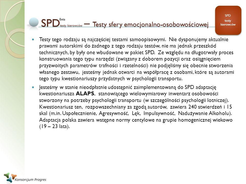 SPDtesty kierowców – Testy sfery emocjonalno-osobowościowej
